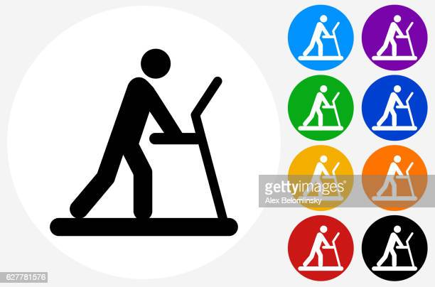 Person on The Treadmill Icon on Flat Color Circle Buttons