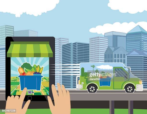 person ordering groceries to be delivered on their tablet - ordering stock illustrations, clip art, cartoons, & icons