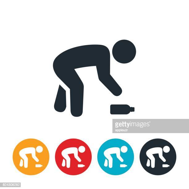 person picking up trash icon - bending stock illustrations