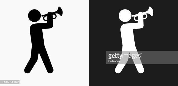 Persona tocando trompeta icono en blanco y negro Vector fondos