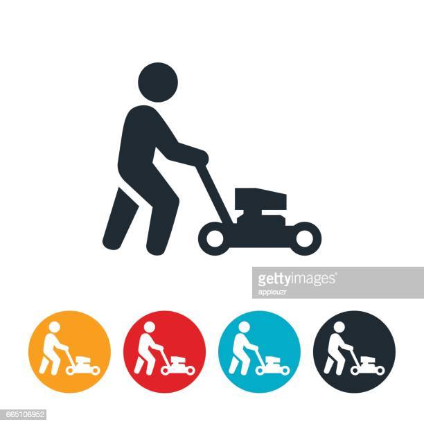 Person Pushing Lawn Mower Icon