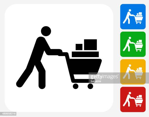 Person Pushing Shopping Cart Icon Flat Graphic Design