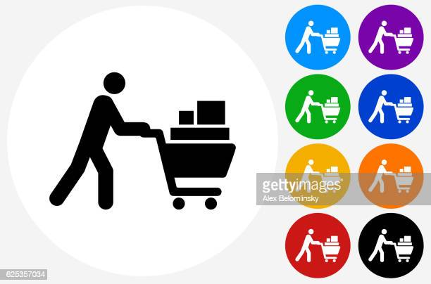 Person Pushing Shopping Cart Icon on Flat Color Circle Buttons
