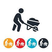 Person Pushing Wheelbarrow Icon