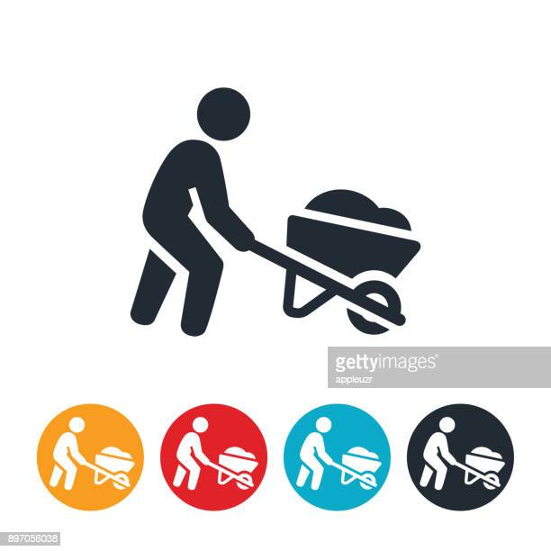 person pushing wheelbarrow icon - wheelbarrow stock illustrations, clip art, cartoons, & icons