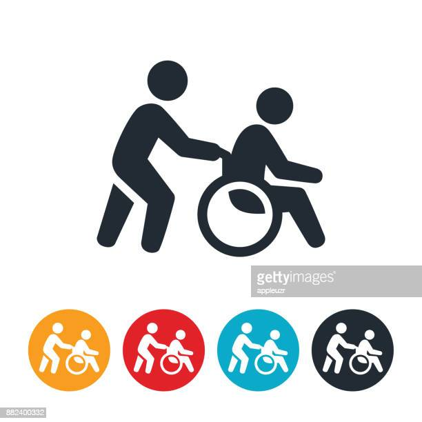 person pushing wheelchair icon - wheelchair stock illustrations, clip art, cartoons, & icons