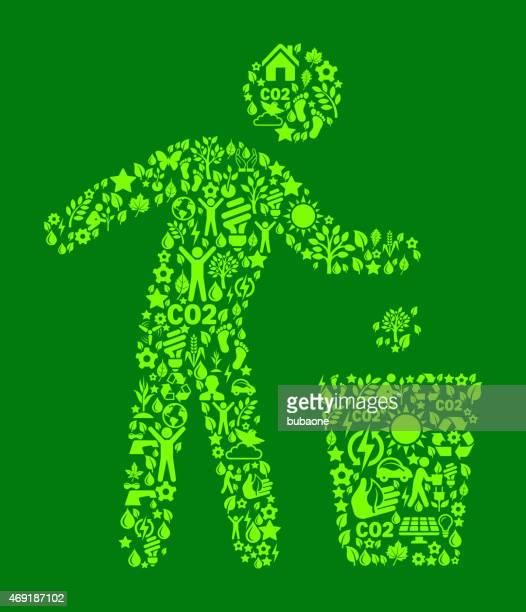 ilustraciones, imágenes clip art, dibujos animados e iconos de stock de persona de reciclaje en la conservación de la naturaleza verde icono de diseño - tirar basura