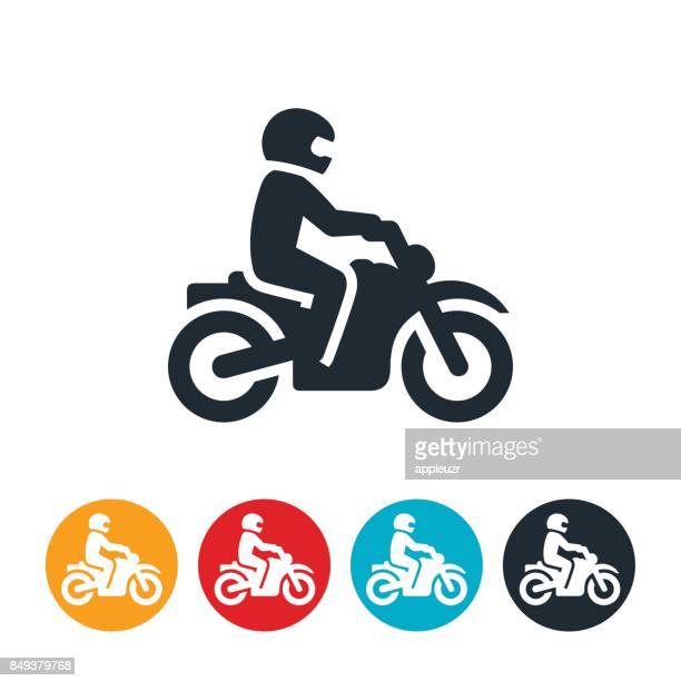 person riding a motorcycle icon - motorcycle rider stock illustrations, clip art, cartoons, & icons