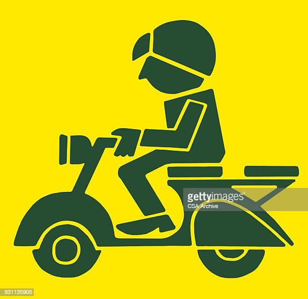 stockillustraties, clipart, cartoons en iconen met person riding scooter - moped