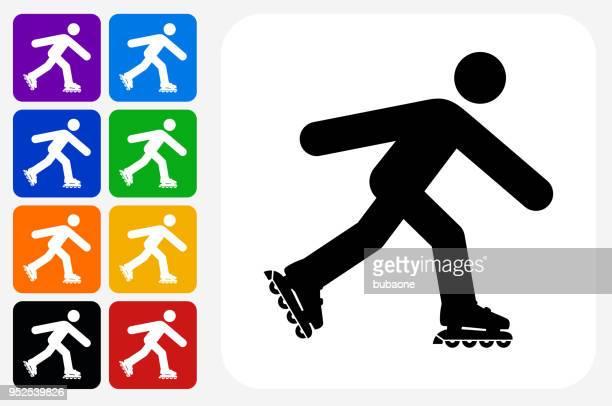 Person Roller Skating Icon Square Button Set
