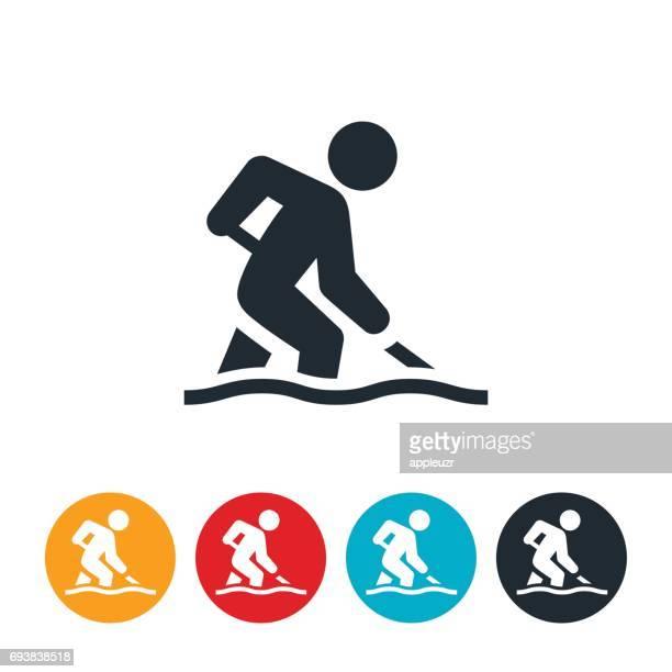 person shoveling snow icon - snow shovel stock illustrations