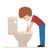 person sick with vomiting