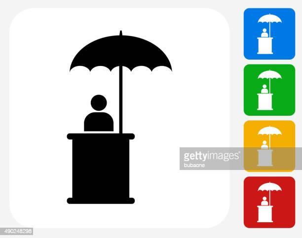 Personne assise sous un parapluie icône à la conception graphique