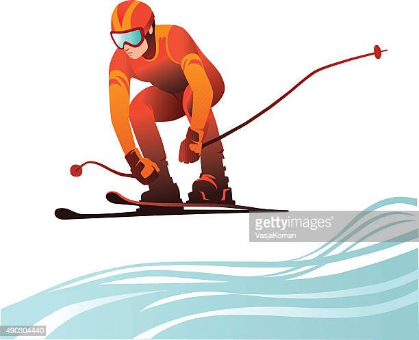 Person Skiing at Full Speed - Downhill Skier