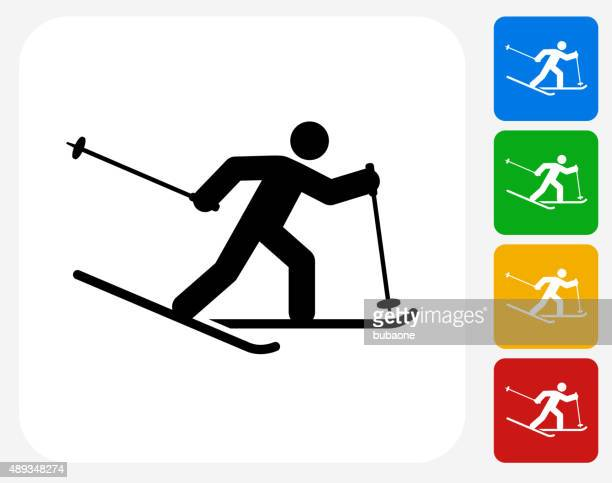 person skiing icon flat graphic design - ski slope stock illustrations, clip art, cartoons, & icons