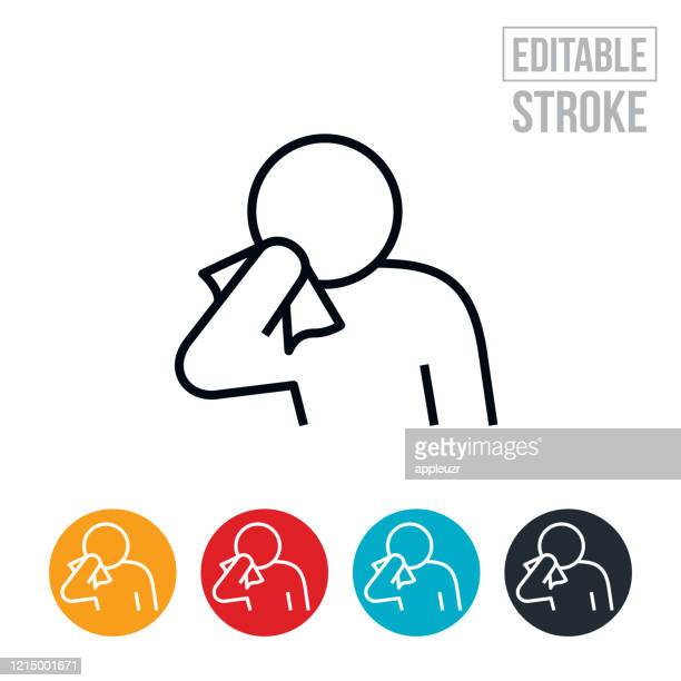 person sneezing into tissue thin line icon - editable stroke - coughing stock illustrations