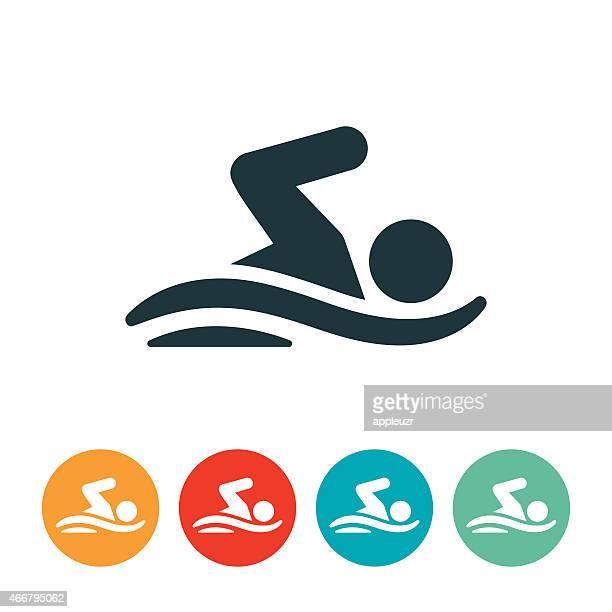illustrazioni stock, clip art, cartoni animati e icone di tendenza di persona nuoto icona - nuoto