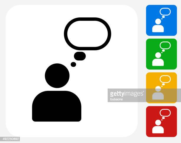 person thought bubble icon flat graphic design - thought bubble icon stock illustrations
