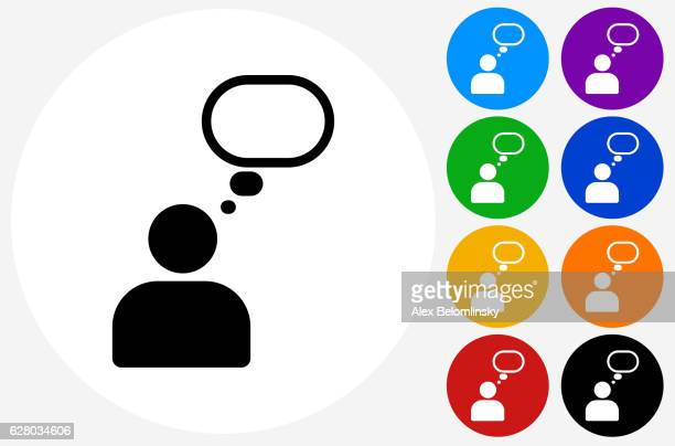 person thought bubble icon on flat color circle buttons - thought bubble icon stock illustrations