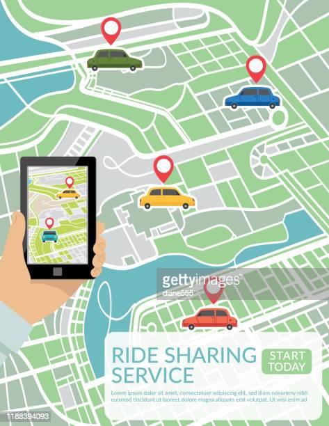 illustrazioni stock, clip art, cartoni animati e icone di tendenza di persona che utilizza un'applicazione mobile per la tecnologia di ride sharing - città intelligente
