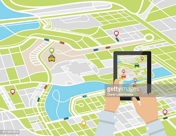 person using a rideshare mobile application on a tablet - taxi stock illustrations, clip art, cartoons, & icons