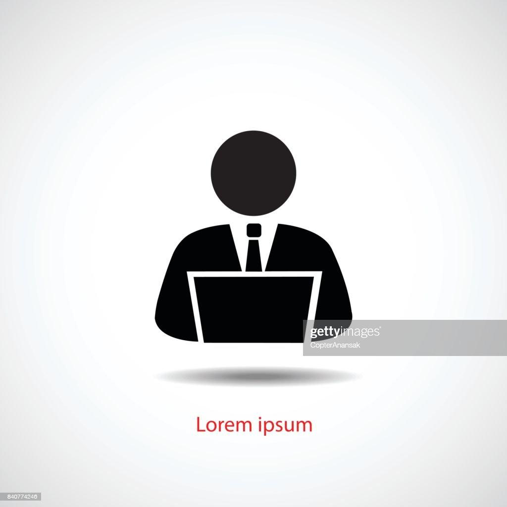 Person using computer, vector icon flat design.