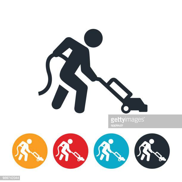 person vacuuming icon - vacuum cleaner stock illustrations, clip art, cartoons, & icons