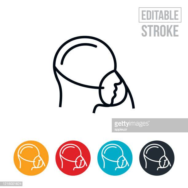 person wearing oxygen mask thin line icon - editable stroke - oxygen mask stock illustrations