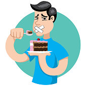 Person with diabetes, can not eat sweets, sugar regime. Ideal for catalogs, informational and institutional material on nutrition