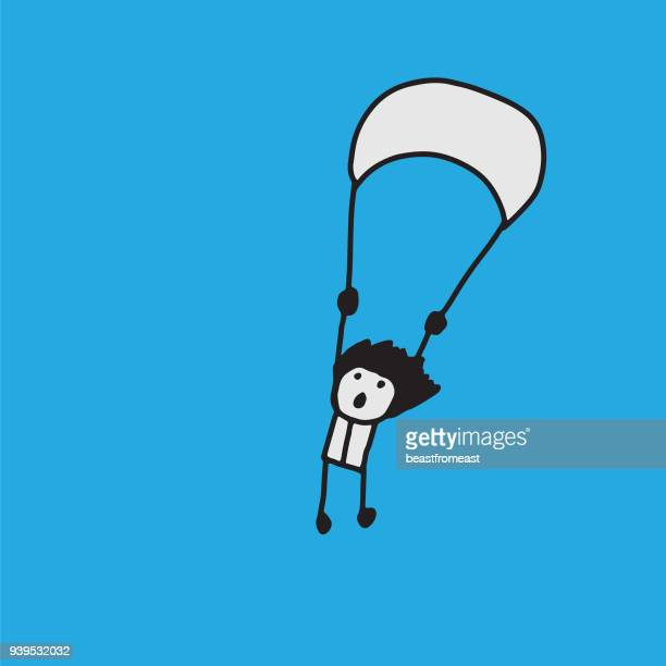 person with parachute. skydiver - courage stock illustrations, clip art, cartoons, & icons