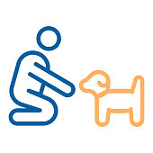 Person with small dog or puppy icon. Vector thin line illustration. Can fit different concepts. Pet training, adoption, helping abandoned animal, feeding, love between owner and dog.