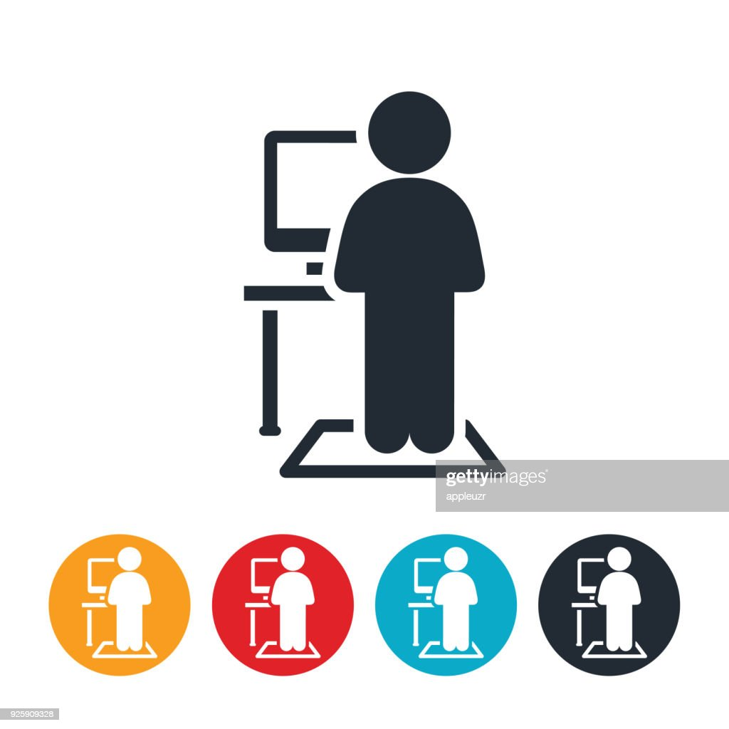 Person working at a Standing Desk Icon : stock illustration