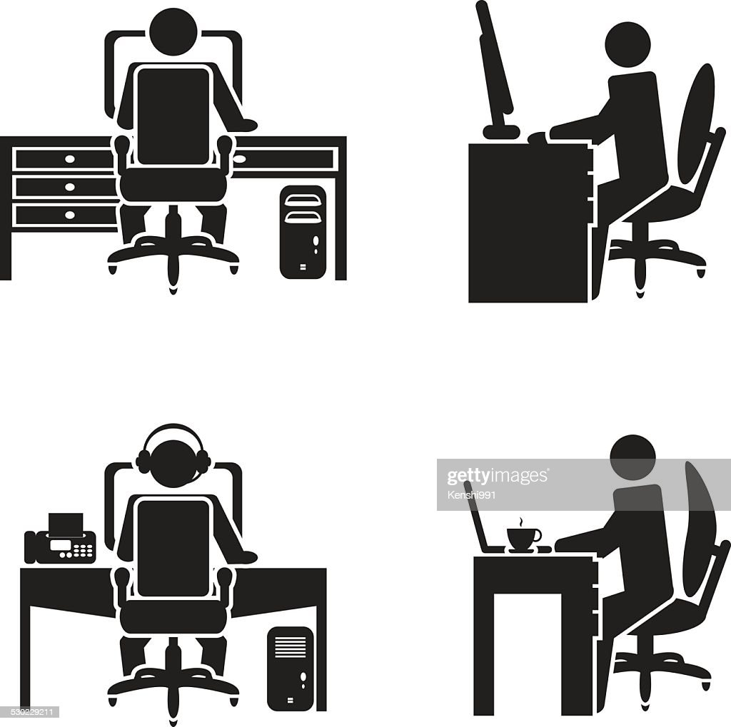 Person working on a computer vector illustration