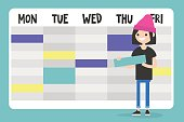 Personal assistant. Young female character planning a schedule / flat editable vector illustration, clip art