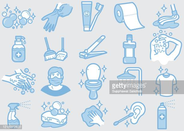 personal care and hygiene 02 line icons set clip art - mouthwash stock illustrations