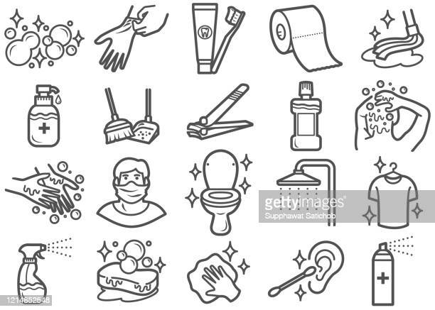 personal care and hygiene line icons set clip art - glove stock illustrations