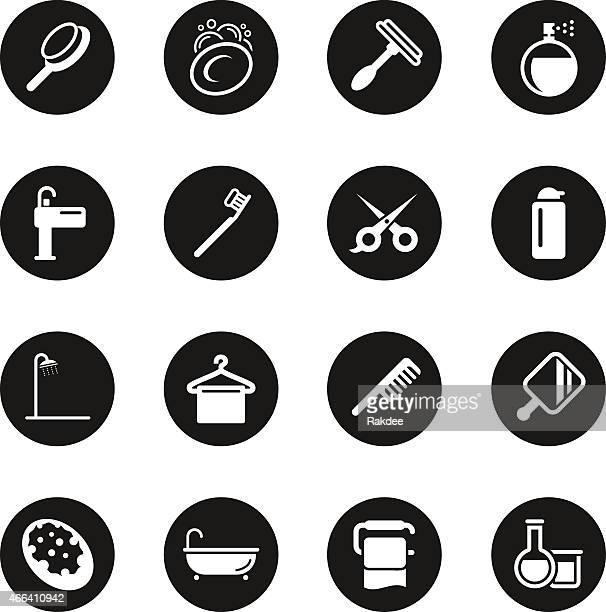 personal care icons - black circle series - scrubbing stock illustrations, clip art, cartoons, & icons