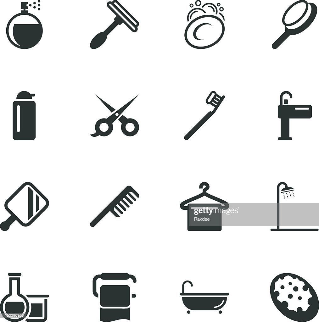 Personal Care Silhouette Icons : Vector Art