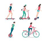 Personal city transportation. Isolated girl icos set.