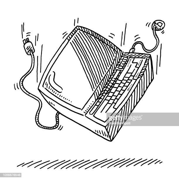 Personal-Computer herunterfallen Zeichnung