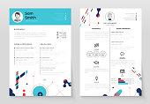 Personal CV- set of modern vector template illustrations