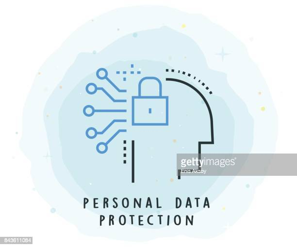 personal data protection icon with watercolor patch - confidential stock illustrations, clip art, cartoons, & icons