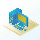 Personal desktop. Icons. Information Technology. Isometric vecto
