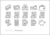 Personal finance and savings line icon set