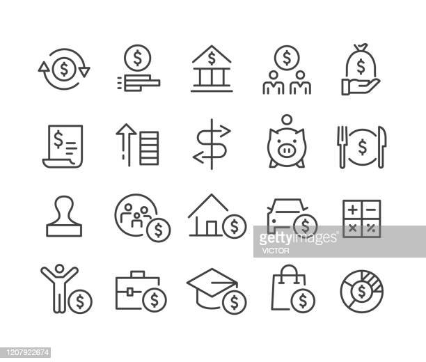personal finance icons - classic line series - pension stock illustrations