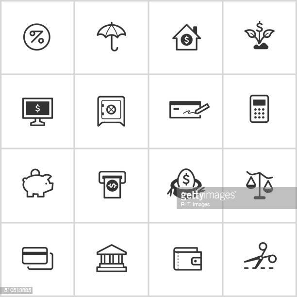 personal finance icons — inky series - cheque stock illustrations, clip art, cartoons, & icons