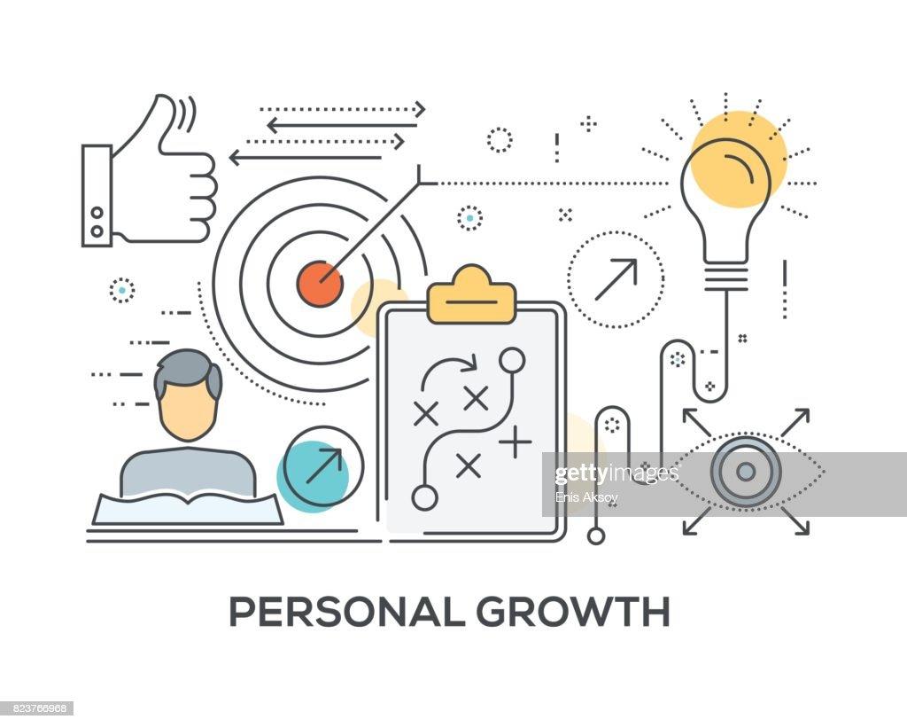 Conceito de crescimento pessoal com ícones : Ilustração