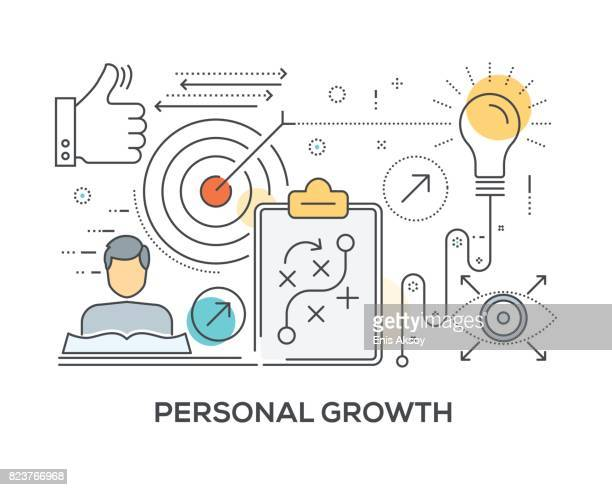 personal growth concept with icons - personal information stock illustrations, clip art, cartoons, & icons