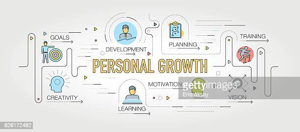 illustrations, cliparts, dessins animés et icônes de personal growth design with line icons - apprentissage