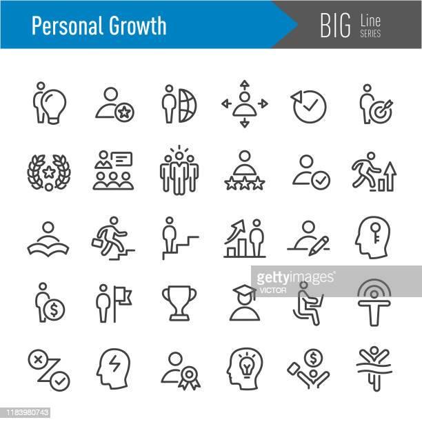 stockillustraties, clipart, cartoons en iconen met persoonlijke groei iconen-big line serie - rivaliteit